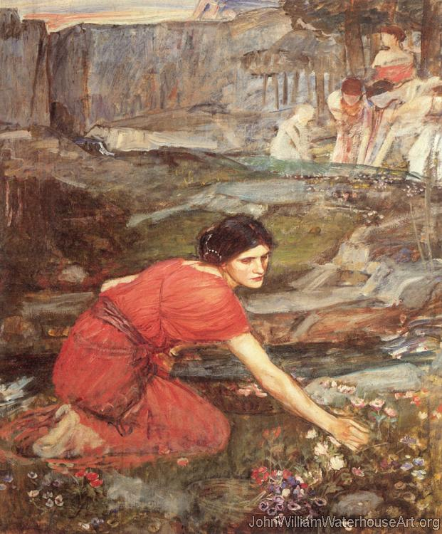 Maidens picking Flowers by a Stream, Study